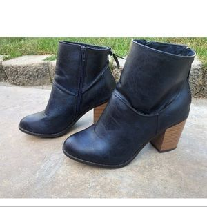 Maurices Blue Faux Lather Heeled Booties